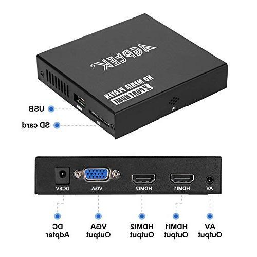 Media 2 Ports Full-HD Digital Player, and Photos Drive/SD Cards/HDD/External HDMI/AV/VGA Output