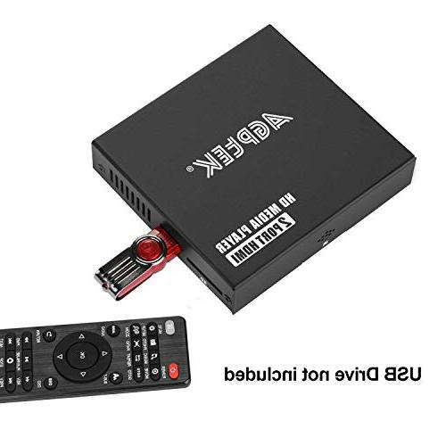 Media Player, HDMI Ports Full-HD Digital and Photos with USB Drive/SD Cards/HDD/External HDMI/AV/VGA Output
