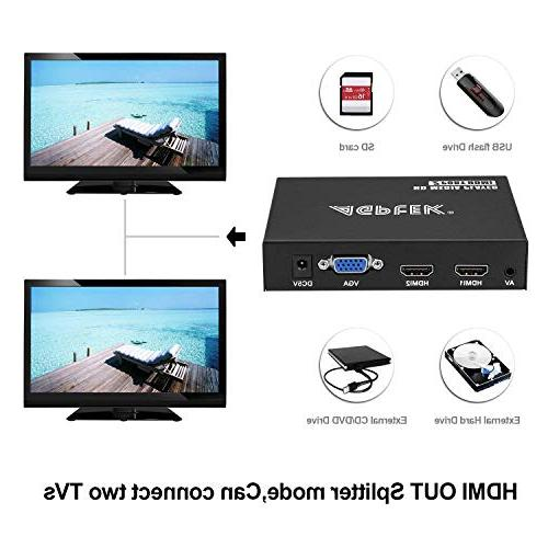 Media 2 Ports 1080P Full-HD Portable Digital Play and Photos USB Drive/SD Devices, Output