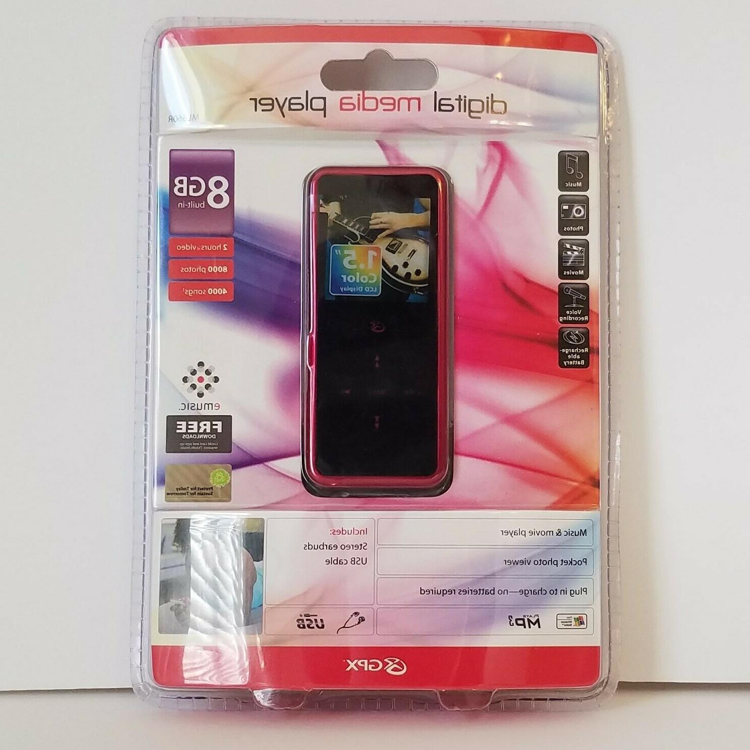 GPX ML660R 8GB Digital Media Player MP3 WMA Video Voice Reco