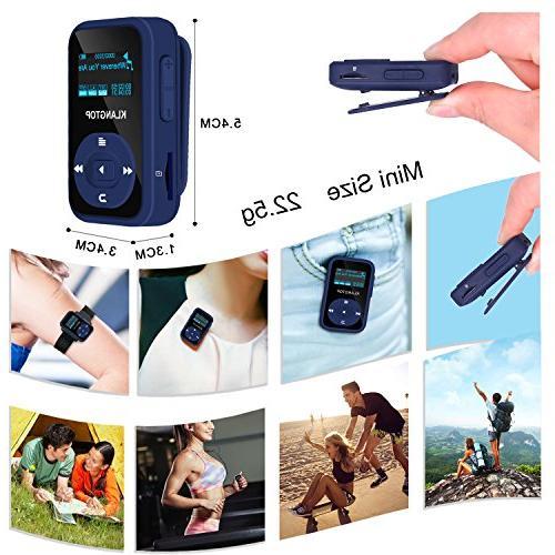 MP3 8GB KLANTOP Clip Music Player with FM Voice Design for Music