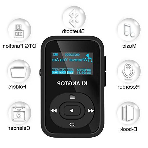 MP3 Bluetooth KLANTOP Digital Player with Voice Record Design for Sport and Music
