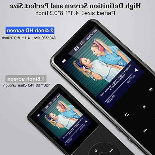 MP3 Player,AMDISI Bluetooth Player with 2.4'' Screen, Slim Portable Music Player with Speaker,Touch Lossless Sound Come with Headphone