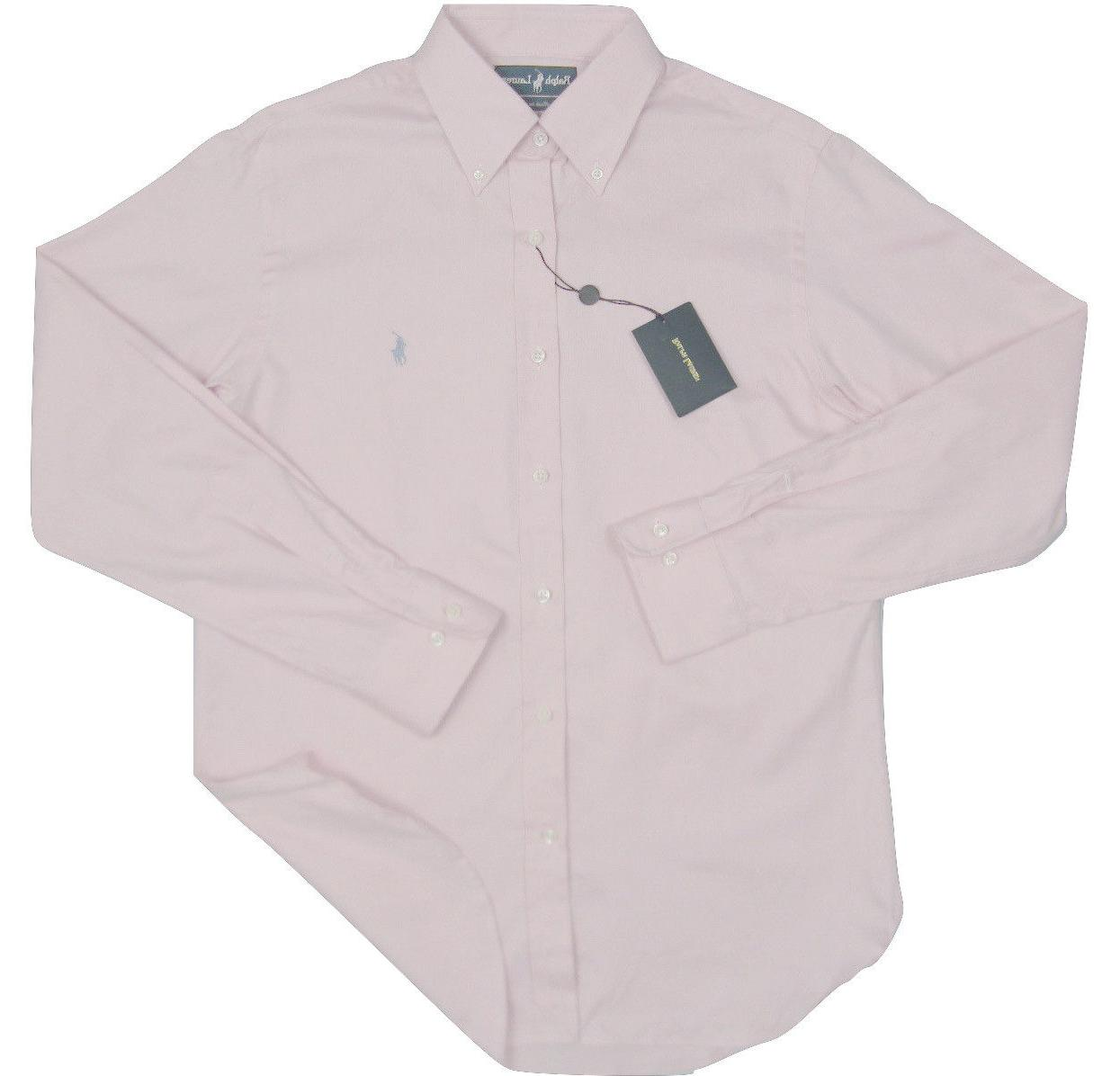 NEW $245 Ralph Lauren Pink Blue White Oxford*