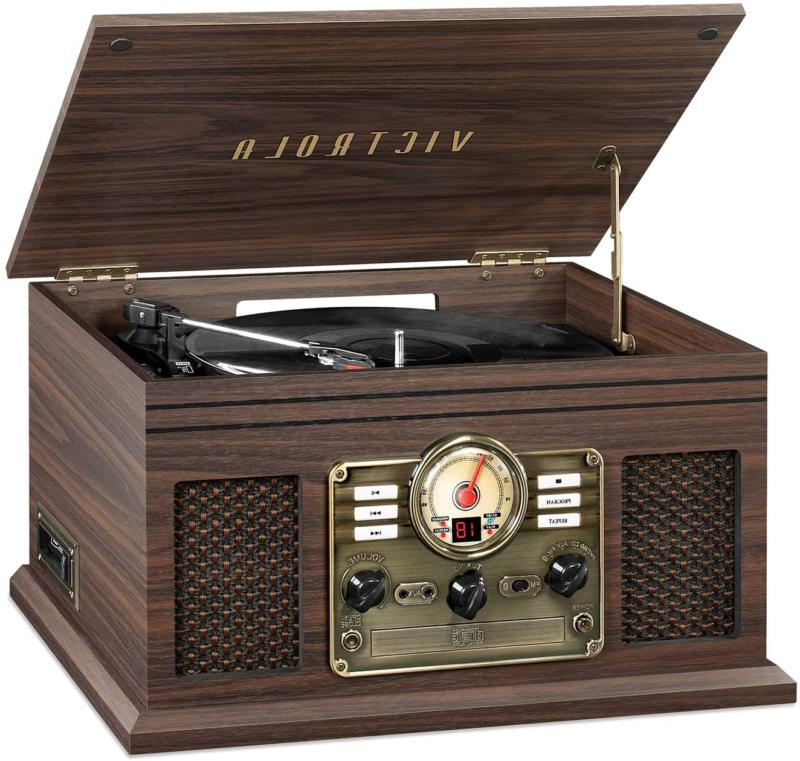 nostalgic 6 in 1 bluetooth record player