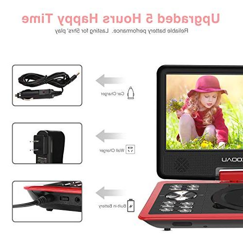 "COOAU 11.5"" DVD Player with Rechargeable Battery, 9.5"" Screen, USB Port Card, Region Free,"