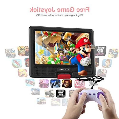 "COOAU Portable Player Rechargeable Battery, Game Joystick, 9.5"" Swivel Screen, USB and SD Card,"