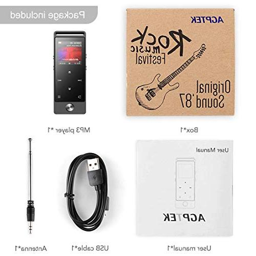 AGPTEK MP3 with Bluetooth, Button Player Voice to 128GB, Gray