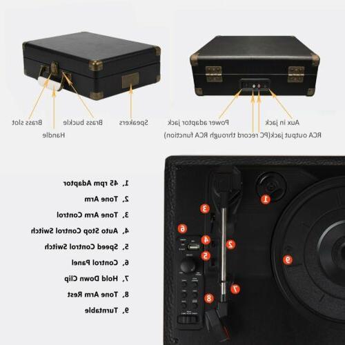 Premium Turntable Vinyl Record Player Speaker Vinyl-to-MP3 USB