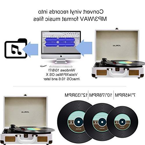 Vinyl Player JORLAI Turntable, 3 Record Player Built Battery/ Vinyl-to-MP3 Jack/ Line White