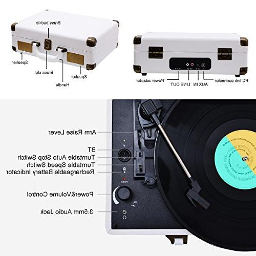 Vinyl Record Player Turntable, 3 Speed Record Player Built in Battery/ Jack/ Aux Input/ Line Out