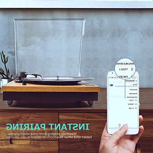 Record Vintage Turntable Player with Speaker, LP Jack,