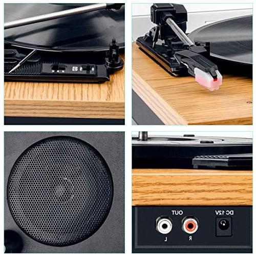 Record Turntable 3-Speed Player with LP Vinyl Jack,