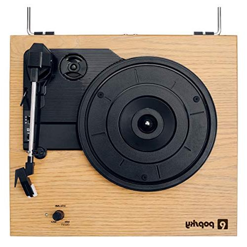 Record Player, Popsky Turntable Player with Jack, Natural Wood