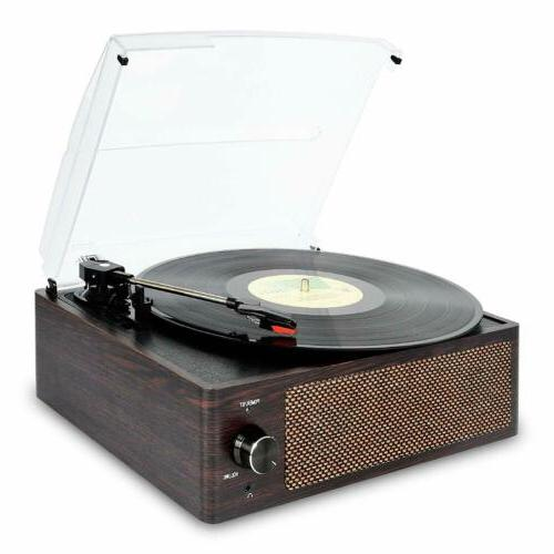 Bluetooth Vintage Vinyl Record Player Belt-Driven 3-Speed Tu