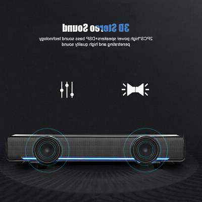 3.5mm USB Wired Soundbar Portable Music Player 3D Stereo Sur