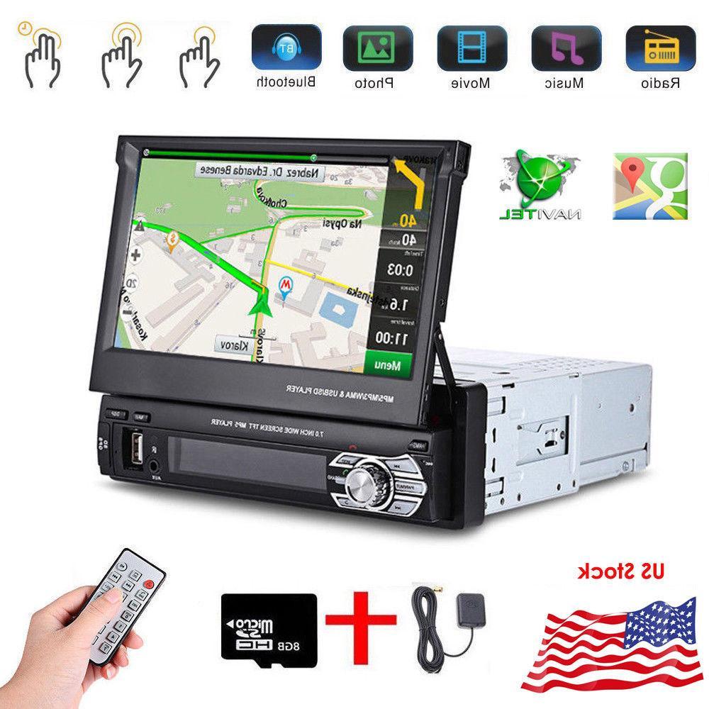 "Single 7"" GPS Flip Radio Player Touch USB AUX Map"