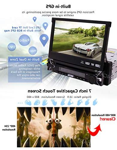 Single Din DVD In Dash GPS Navigation Car AM Radio Receiver Support Detachable Audio/Video Free Wireles Remote Backup Camera Map