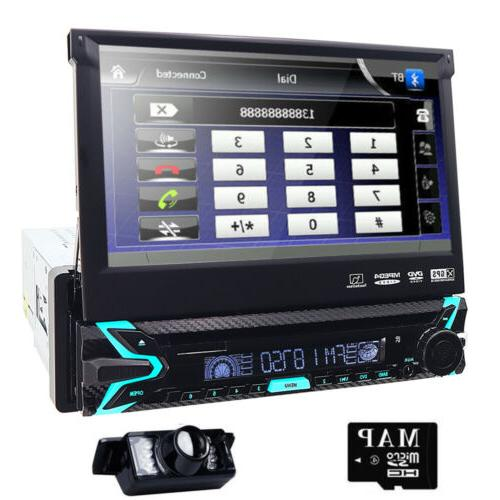 Single 1Din Car Stereo Radio DVD Player Bluetooth GPS Naviga