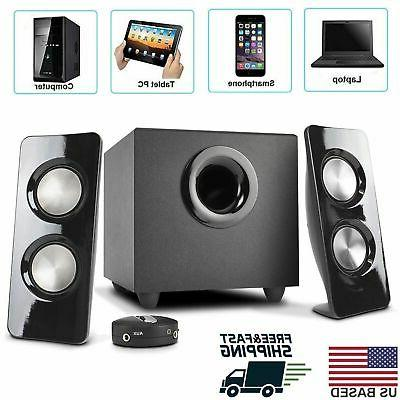 Stereo 2.1 Speaker Sound System with Subwoofer PC Laptop Not