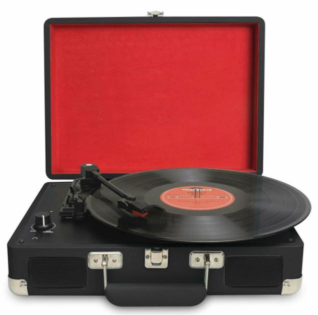 turntable portable suitcase record player with built