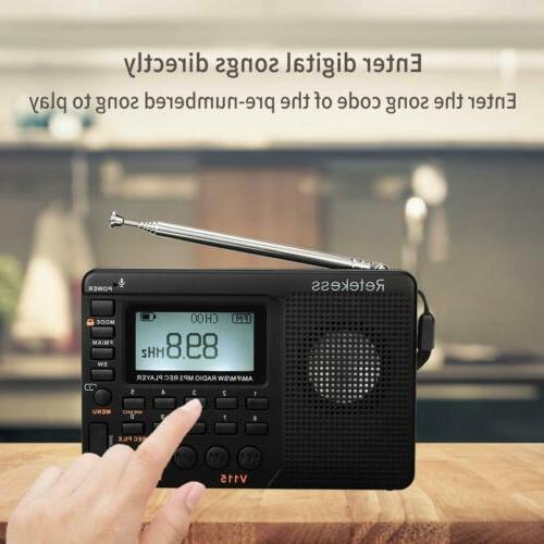 Retekess V115 FM/AM Radio Sleep Timer MP3 Player Rechargeabl