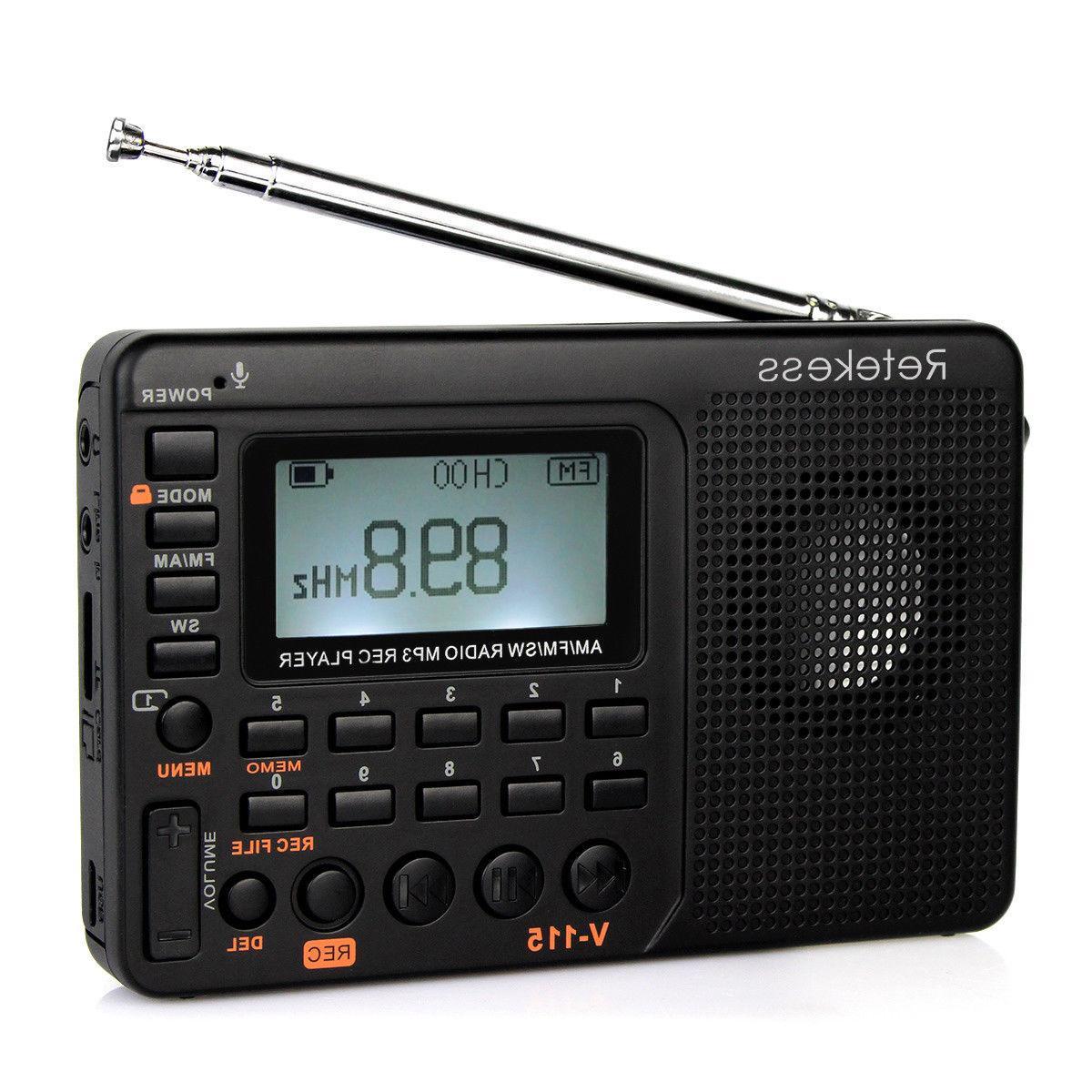 RETEKESS V115 FM/AM/SW Mini  Radio World Band Receiver MP3 P