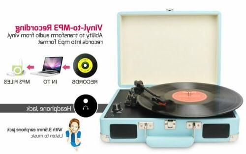 Vintage Vinyl Record Player-Suitcase Speakers
