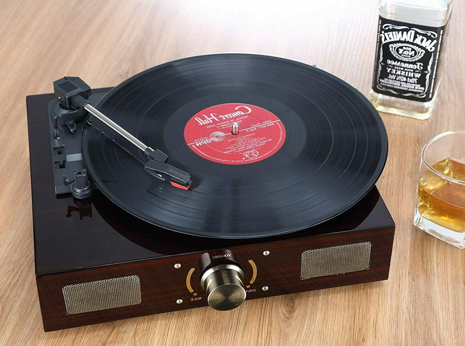 Vintage Record With Speaker In 3 Speed