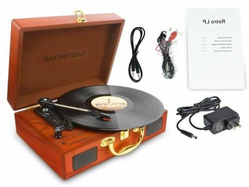 Vinyl/LP Record Player with Natural Suitcase Turntable Recor