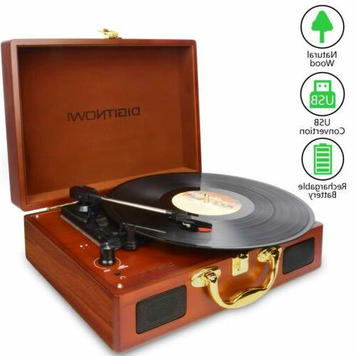 vinyl lp turntable record player with natural