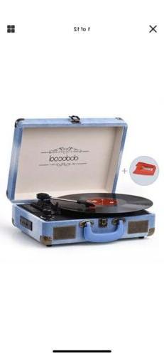 dodocool Vinyl Record Player, Vintage Bluetooth Turntable 3-