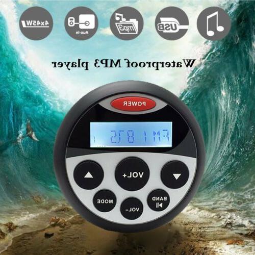 Waterproof Head Unit MP3 Player Marine Boat FM Radio Bluetoo