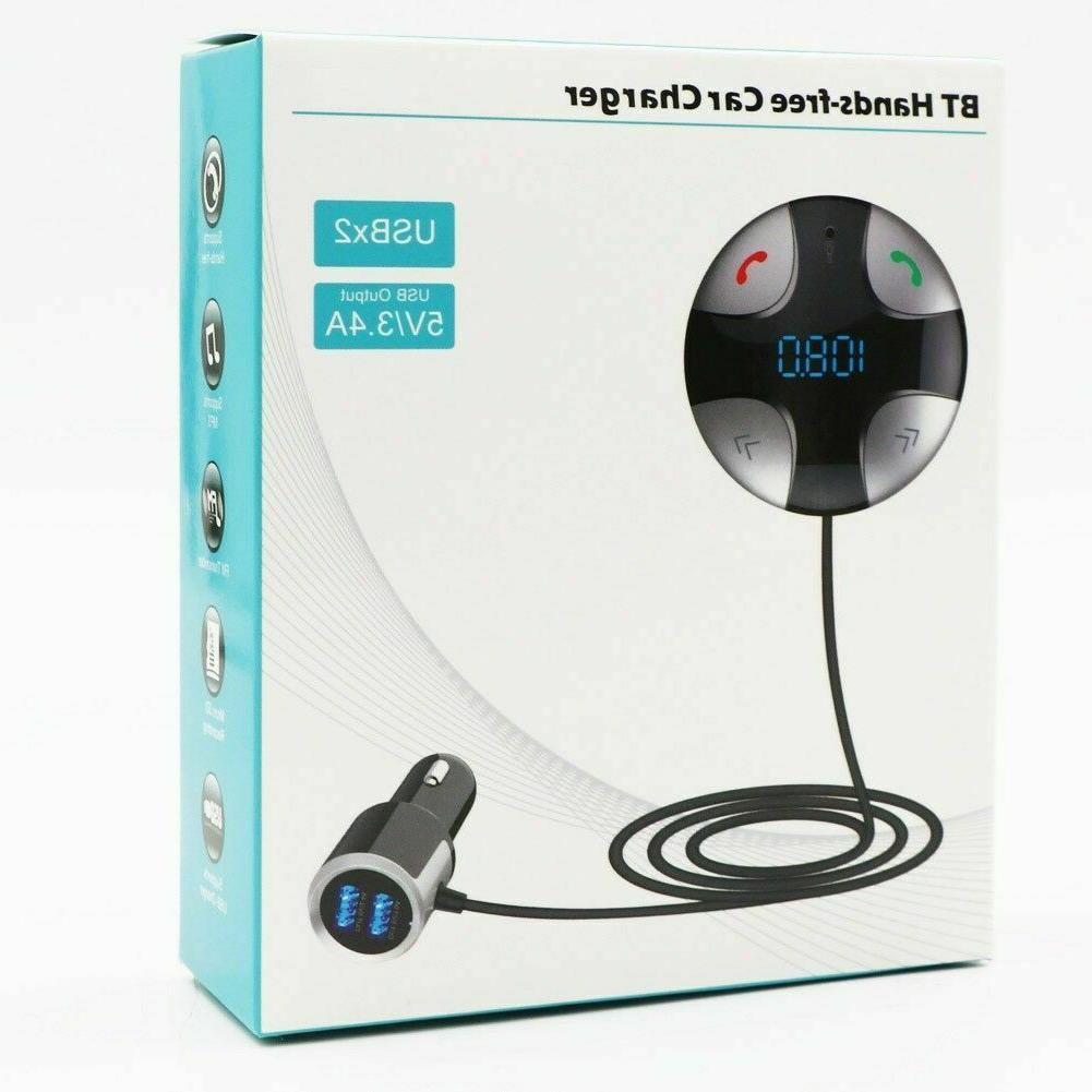 Wireless Handsfree Bluetooth Transmitter 2 USB Car Adapter
