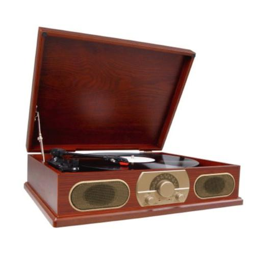 STUDEBAKER WOODEN 3-SPEED TURNTABLE RECORD PLAYER with AM/FM