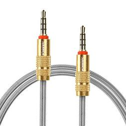 ICEELEC 3.5mm Male to Male 4-Pole Metal Spring Wrapped Exten