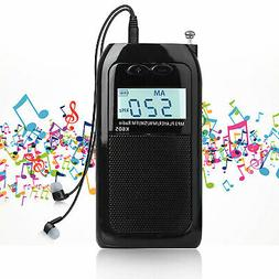Mini Pocket FM/AM Radio Digital Tuning MP3 Player Rechargeab