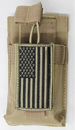 M1Surplus MOLLE Style Tan Color Radio Pouch + PATRIOT FLAG M