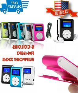 MP3 Player With Digital LCD Screen Mini Clip Support 32GB Mi