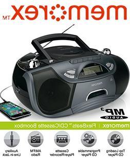 Memorex MP3262 FlexBeats CD/Cassette Boombox - Black