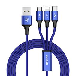 Multi USB Cable,Baseus USB to Lightning/Micro/USB C 3 in 1 B