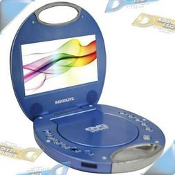 """NEW SYLVANIA 7"""" Blue Portable DVD Player w/Built-in Handle/C"""