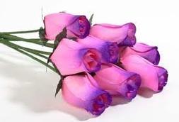 One Dozen Wooden Roses 8 Pink/Purple Tips & 4 White