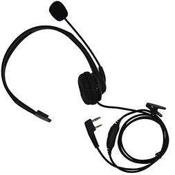 Tenq 2 Pin Overhead Earpiece Headset Boom Mic Microphone Noi