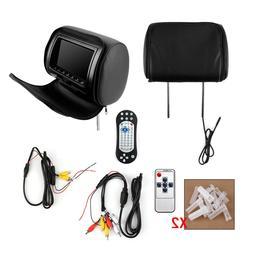"Pair Car Digital Headrest 7"" HD Monitor Game DVD Player USB"