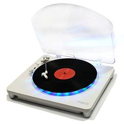 Ion Audio photon w-dustcover Multi-Color Lighted Turntable w