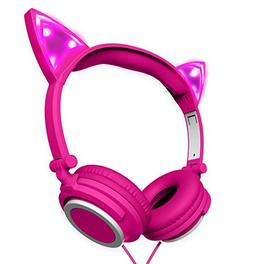 Polaroid PHP240PK Cat Headphones Light up With Pink LED, Cat