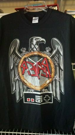 PLAYER Slayer thrash metal parody shirt. Video games and NES