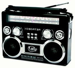 Portable Bluetooth Radio with AM/FM/SW Bands, Rechargeable B