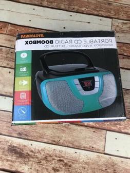 Sylvania Portable CD Player Boom Box with AM/FM Radio Teal B